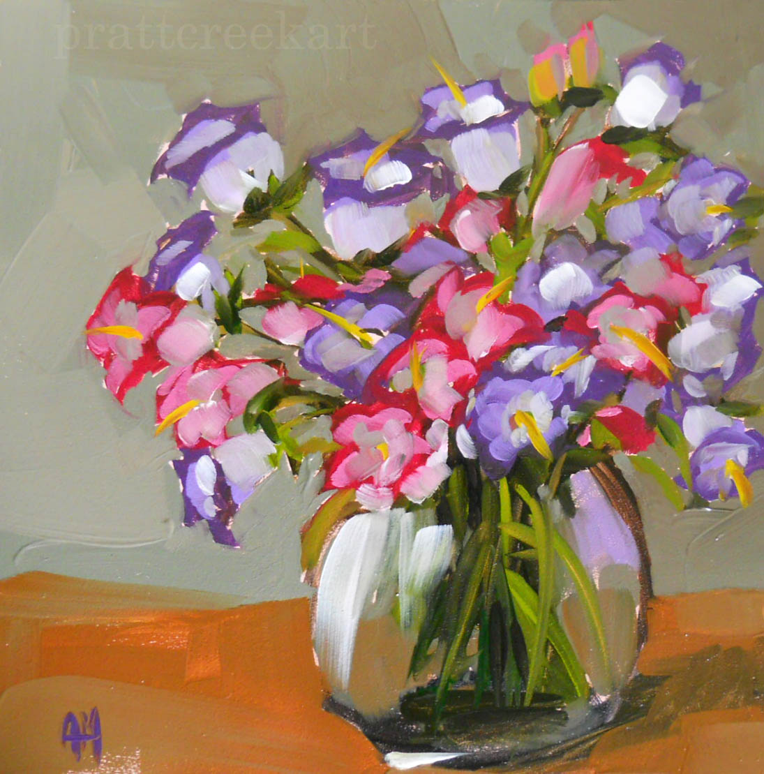 Oil Painting Flowers Campanula