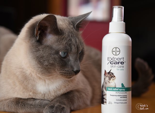 Maxwell eyes his bottle of Bayer Expert Care itch relief spray