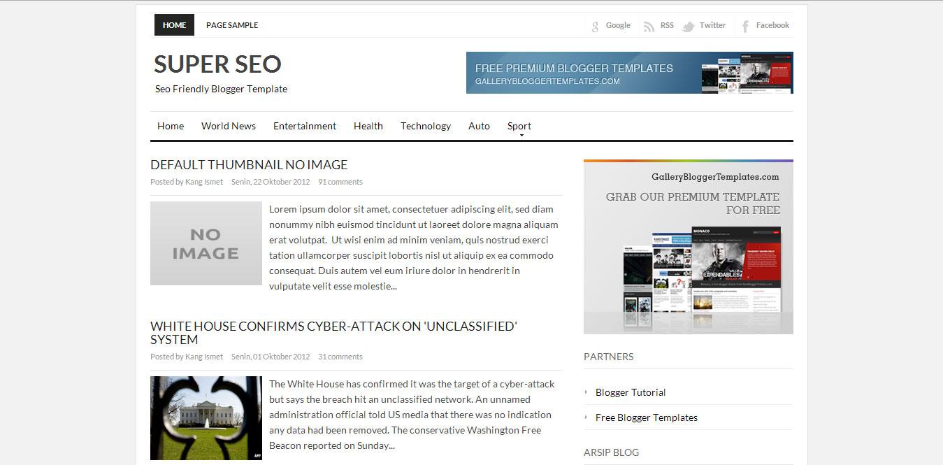 Super SEO Blogger Template