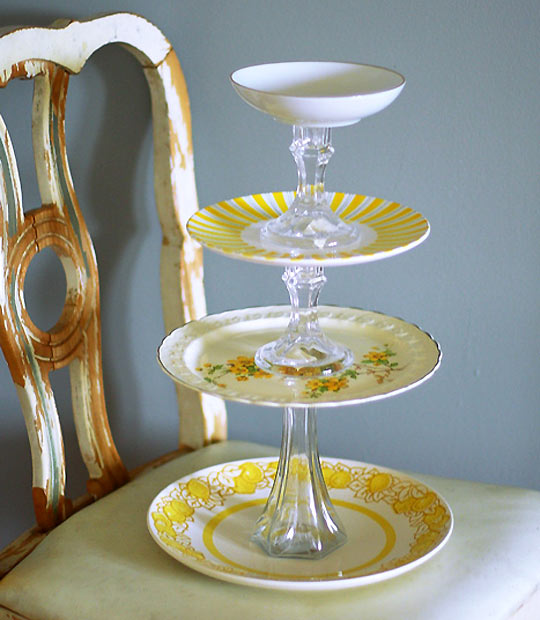 DIY Cake Stands : plate stand source - pezcame.com