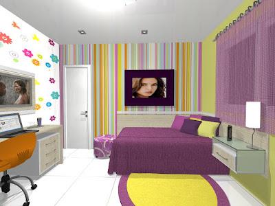 Decoração de quarto de menina com adesivo de parede florido