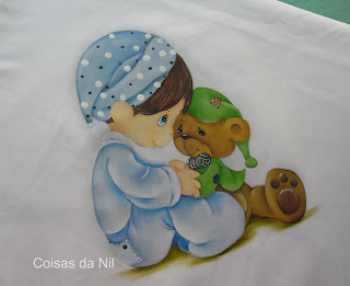 pintura em tecido menino e ursinho de pijama