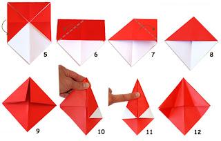 Грибки из бумаги.  Схема оригами для детей.
