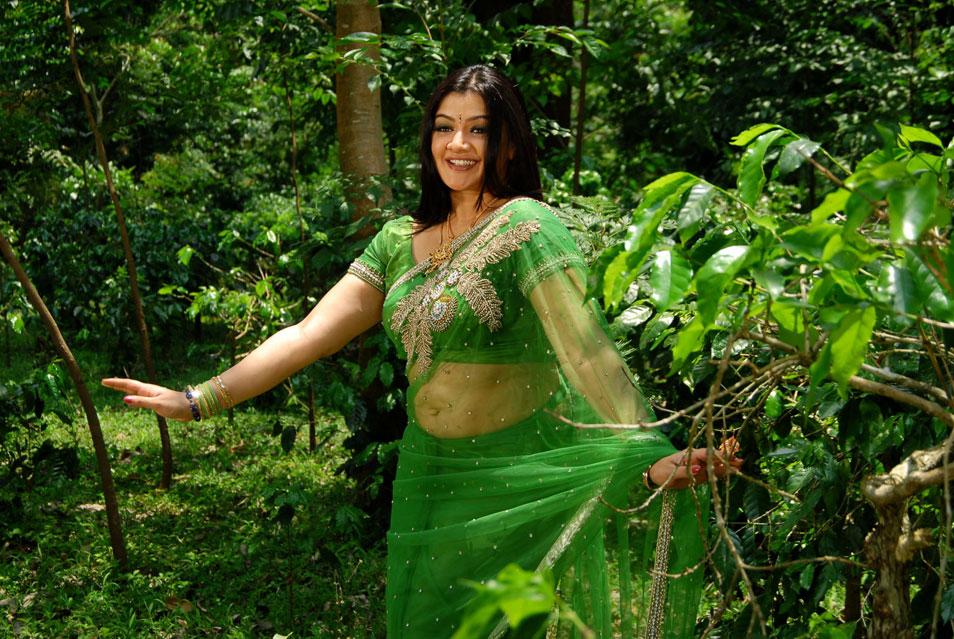 , Aarthi Agarwal Green Saree Photo Gallery