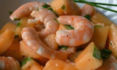 Receta ensalada camarones citricos