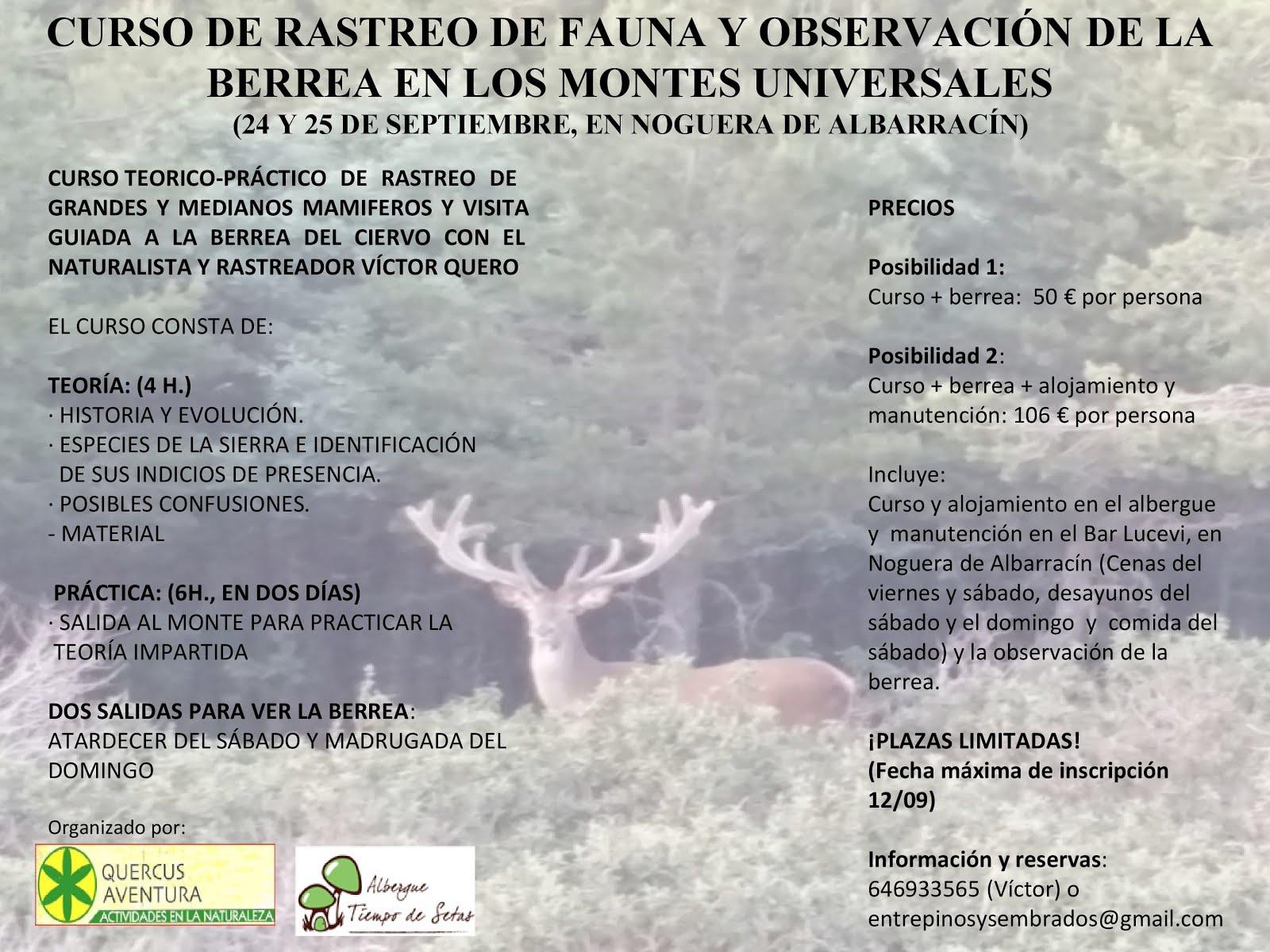 CURSO TEÓRICO PRÁCTICO DE RASTREO DE HUELLAS CON VISITA GUIADA A LA BERREA