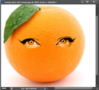 Cara memberikan wajah pada buah jeruk dengan photoshop