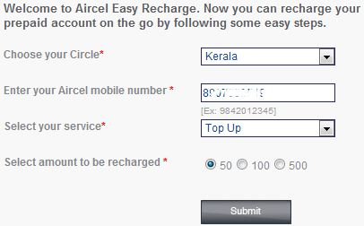Aircel working top up recharge trick