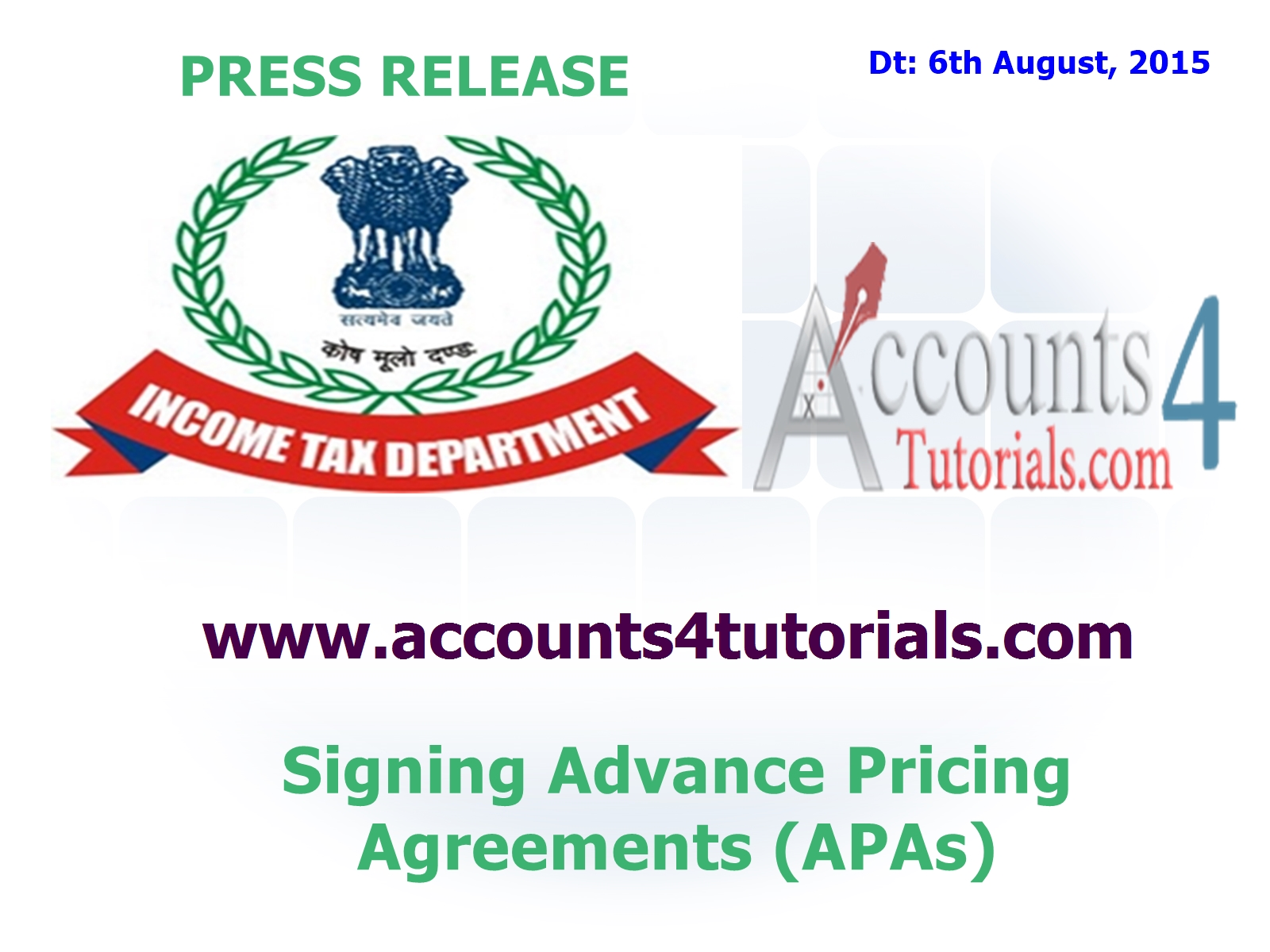 Income Tax Press Release Advance Pricing Agreements Apas