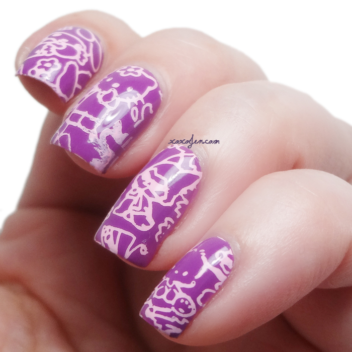 xoxoJen's swatch of Miss Ashleigh Berry Delicious and Infinity 108 stamping