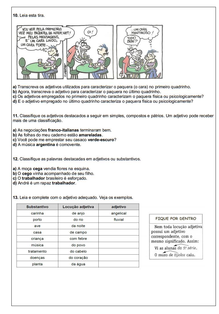 ATIVIDADES PORTUGU  S 6   ANO L  NGUA PORTUGUESA EXERC  CIOS TESTES