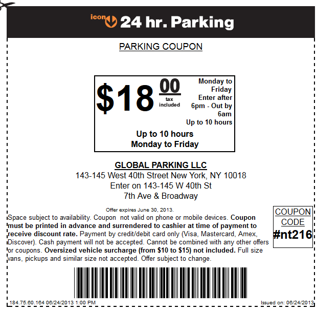 Parking discount coupon nyc