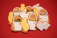 Easter spice biscuits - a mix of Easter bunnies, chicks and Easter baskets
