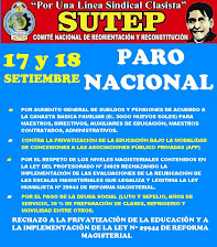 17 Y 18 DE SETIEMBRE PARO NACIONAL PRE CONCENTRACIÓN: PLAZA SAN MARTÍN HORA: 9.00 AM