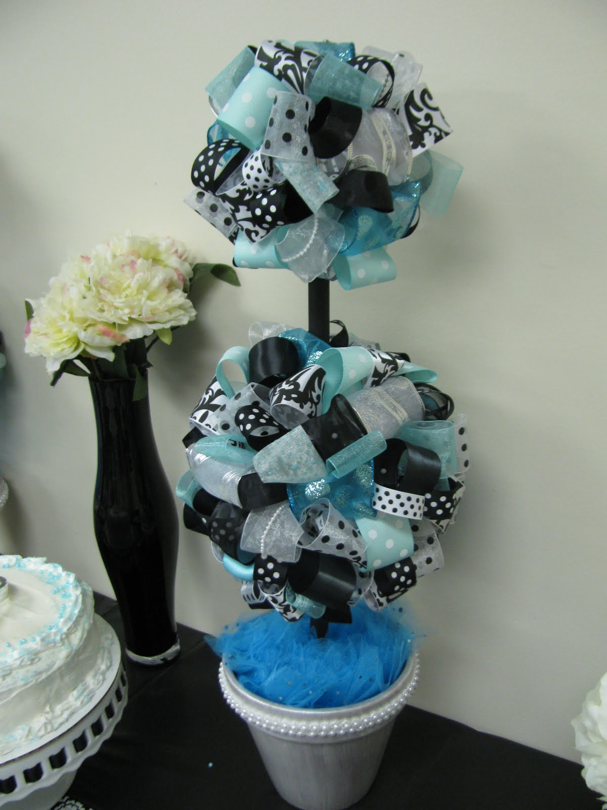 Banana lala bridal shower tiffany blue black and white
