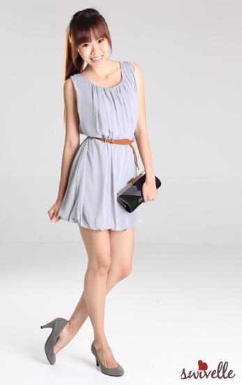 Copper Bells: Swivelle Chantille Pleated Dress in Light Grey