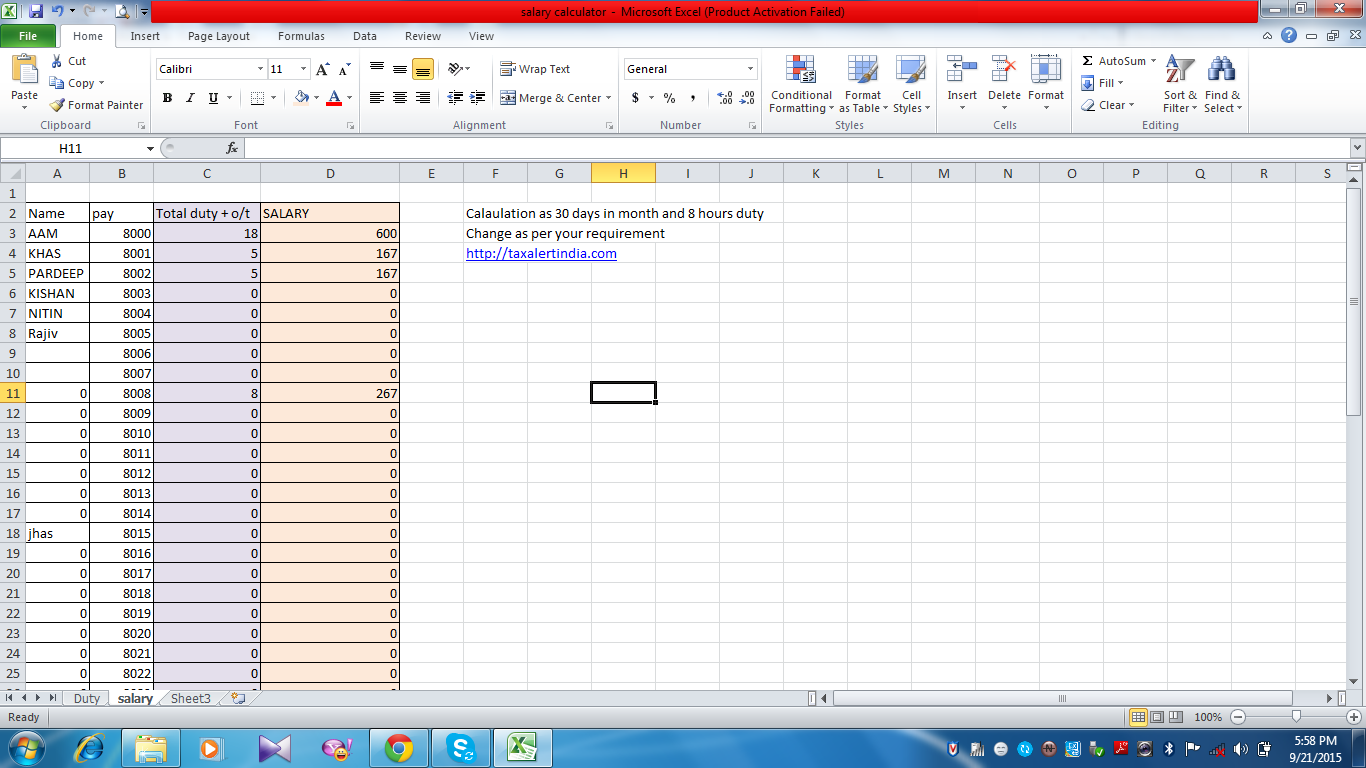 how to calculate salary in excel free download excel