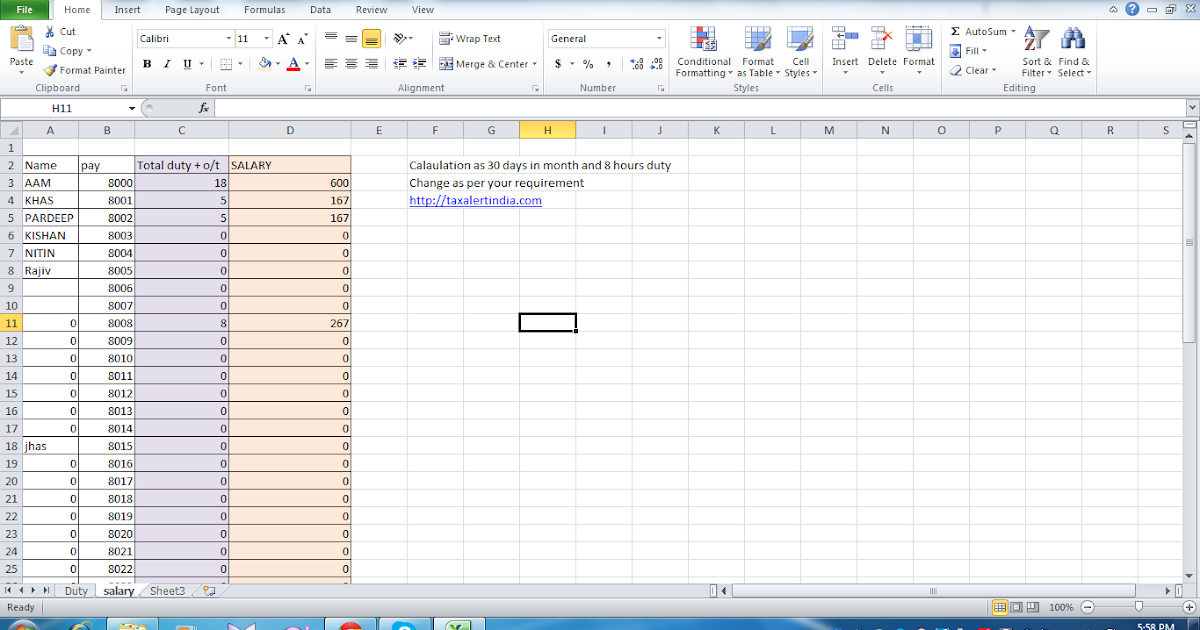excel based salary and overtime calculator taxalertindia