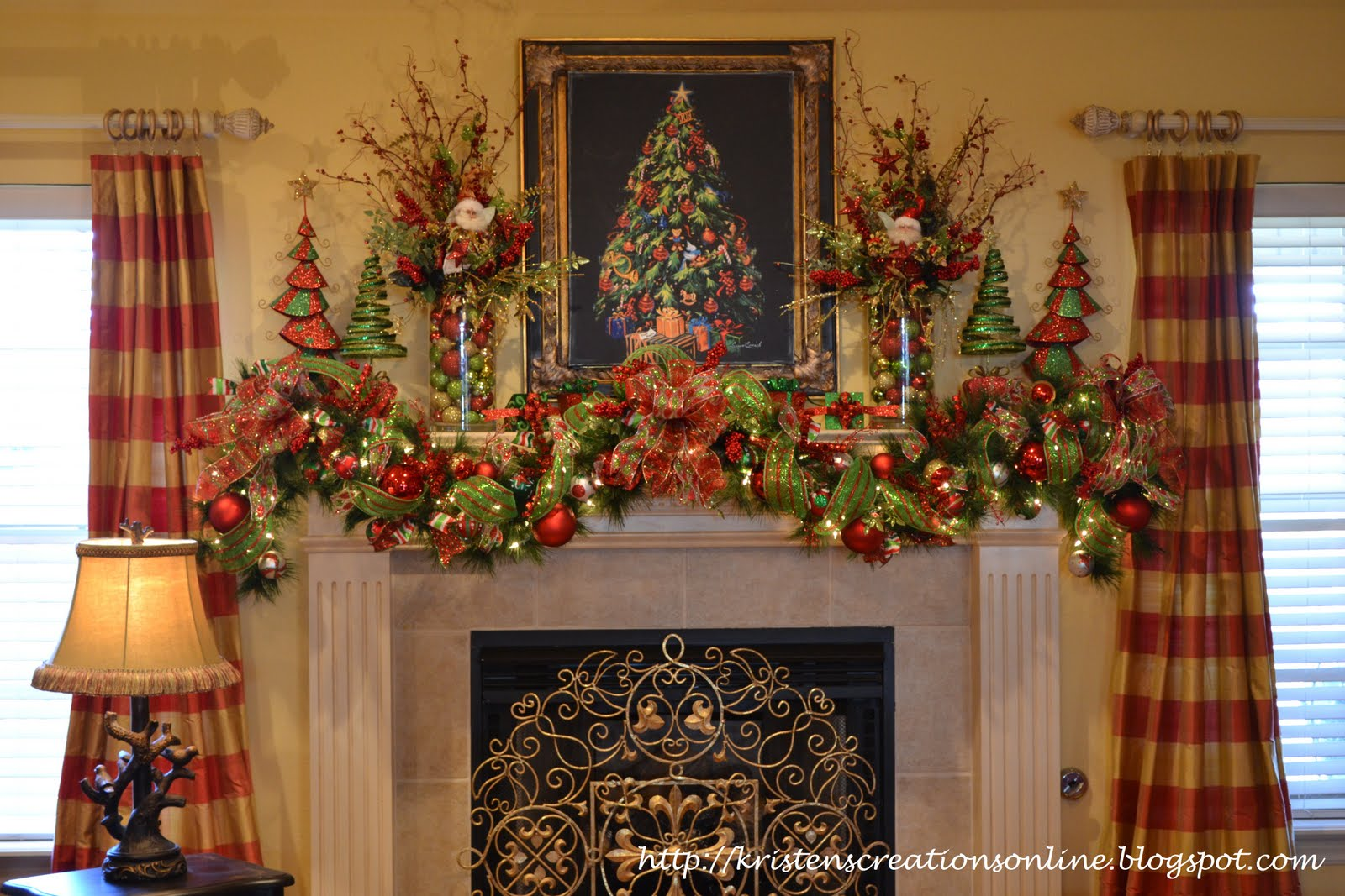 Kristen 39 s creations my christmas mantle for How to decorate a fireplace for christmas