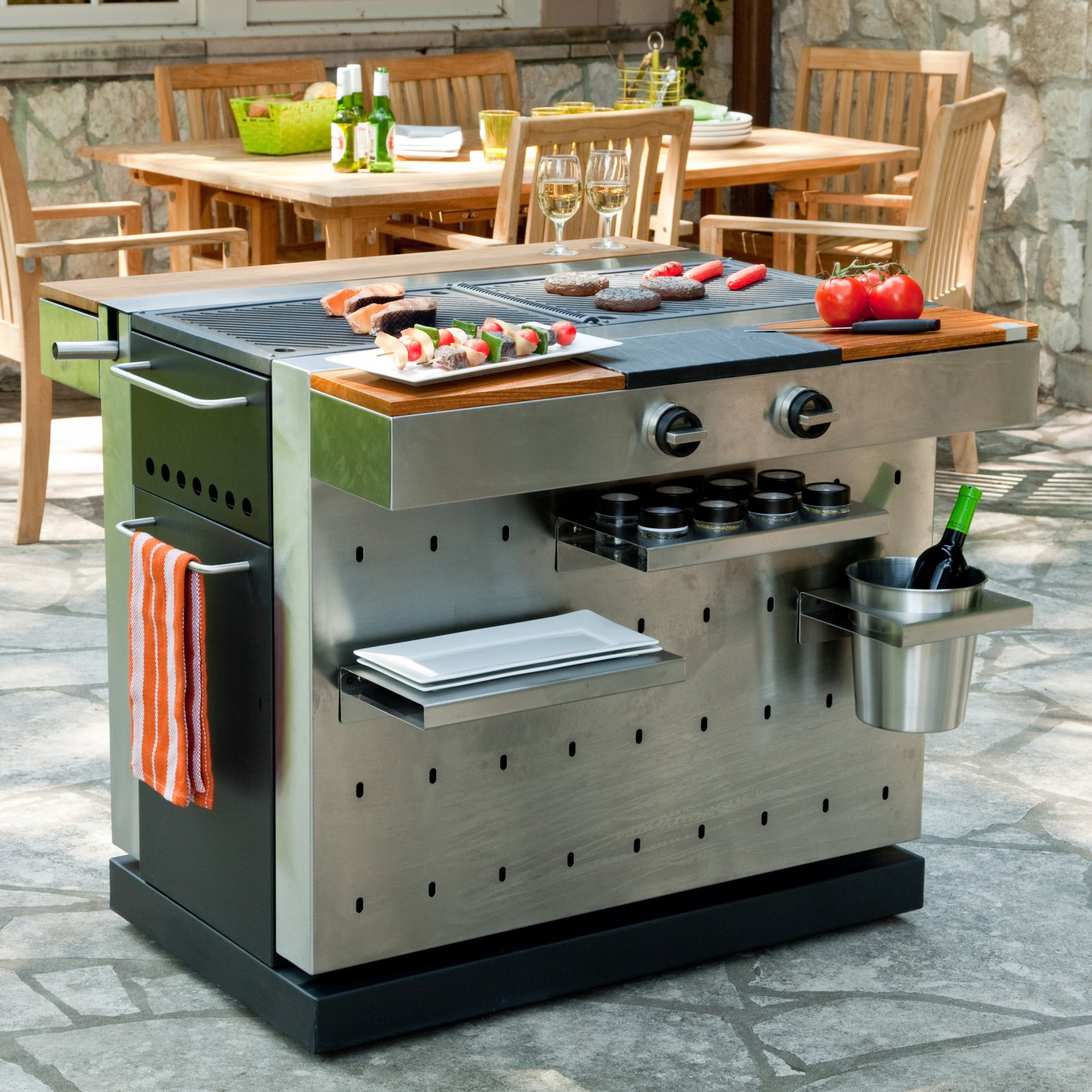 finally a modern grill  fuego  grill  grant bowencom -  and a modular accessory system that uses pegs to attach to theperforated stainless steel exterior simply put it redefines what a grillcan be via