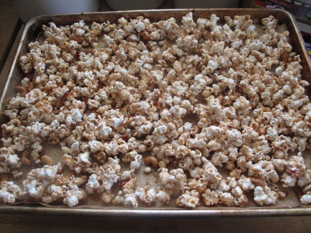 and bake until caramel is shiny and coats popcorn tossing mixture ...