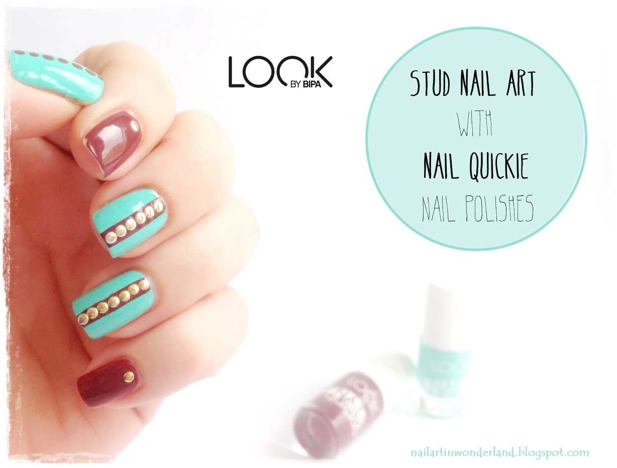 Zımba / Stud Nail Art with Look By Bipa Nail Quickie: Iced Spearmint and Old Red