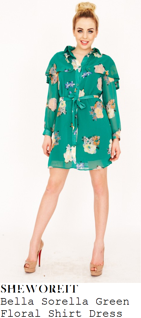 Sheworeit lydia bright 39 s bella sorella dark green floral for Bright green t shirt dress