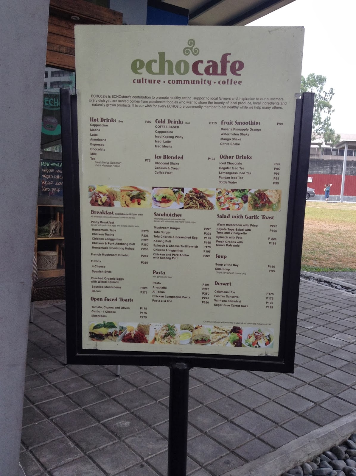 Looking at the echocafe menu
