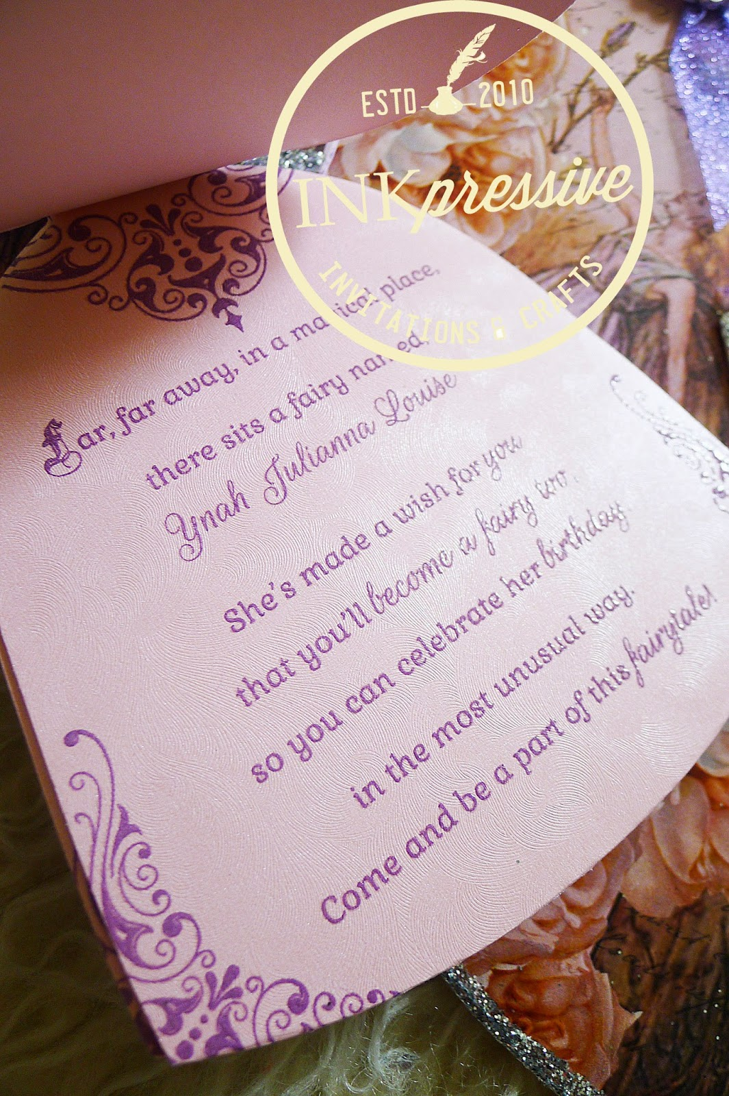 Debut Fairy Tale Gown Die Cut Thermal Embossed Invitation