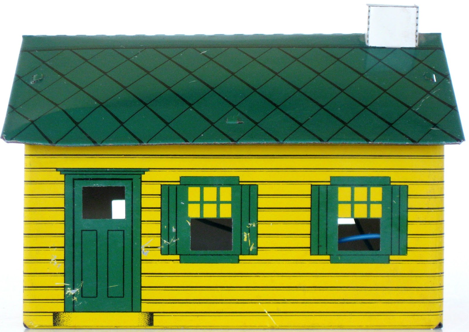 Toys and stuff h h sales model 40 hilltop house - Yellow house with green roof ...