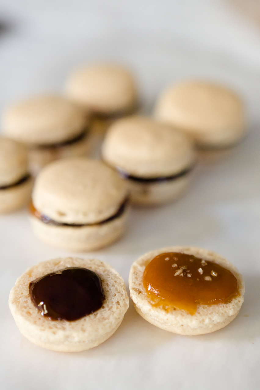 Pumpkin Pie Spice Macarons With Caramel, Dark Chocolate Ganache, And ...