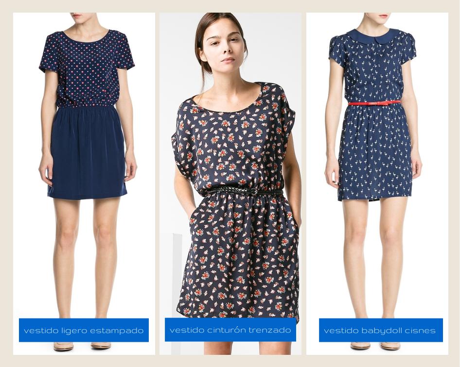 Mango Spring 2014 vestidos / dresses - ligero estampado, cinturón trenzado, babydoll cisnes