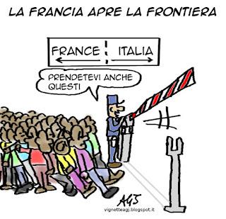 francia, migranti, ventimiglia satira vignetta