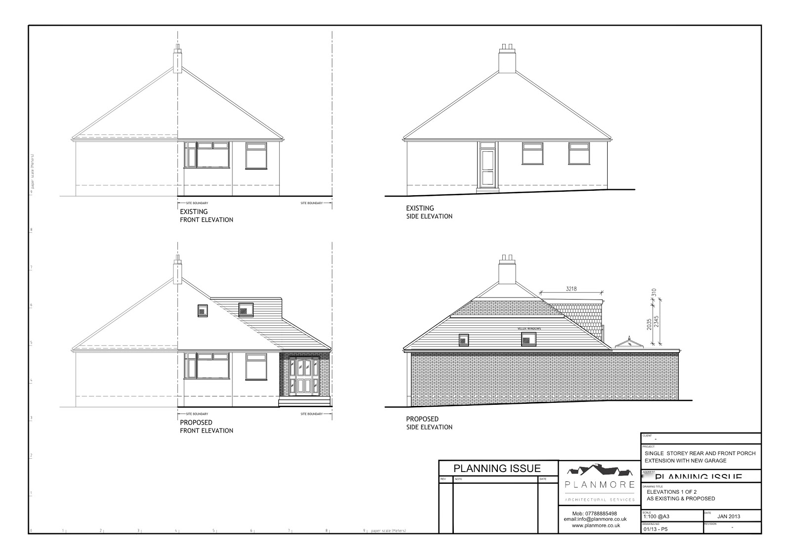 Front Elevation Side Elevation : Build my bungalow plans architect drawings