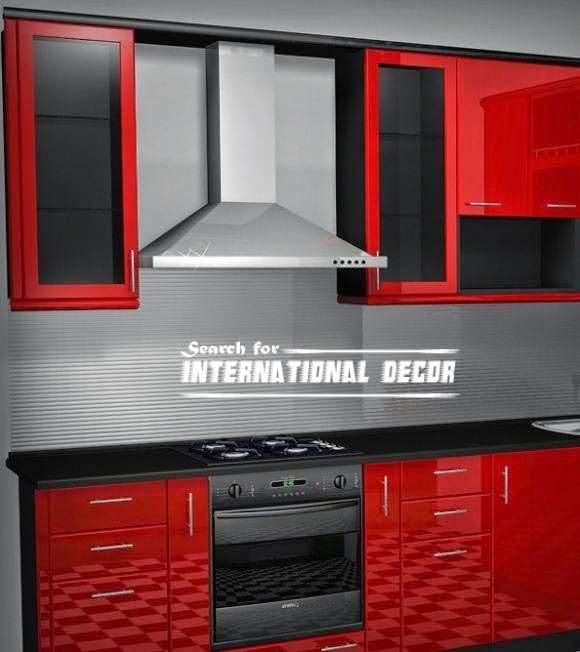 Correct the kitchen hood, red and black kitchen
