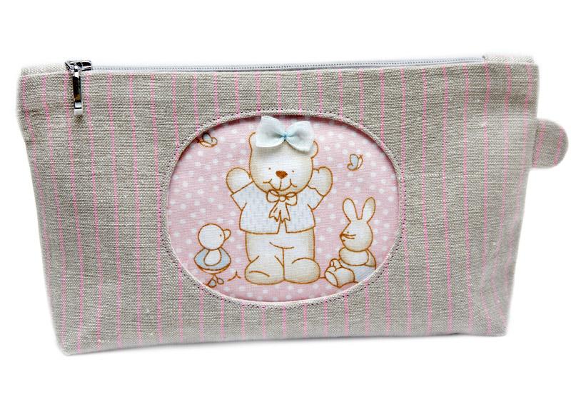 Cosmetic bag with applique bear ~ diy tutorial ideas!
