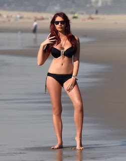The program of the day on Sunday, January 24, 2016, Amy Childs, 25, strolling around by herself at Venice beach in a black bikini.