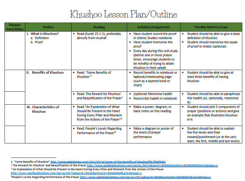 Khushoo Lesson Plan
