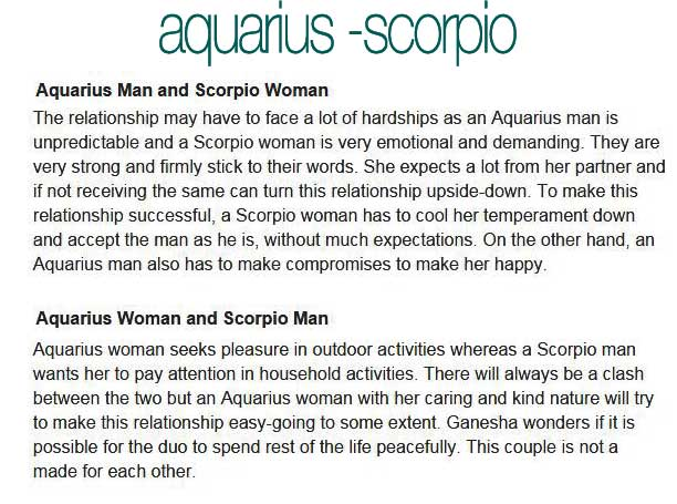 Scorpio Male And Aquarius Female Compatibility