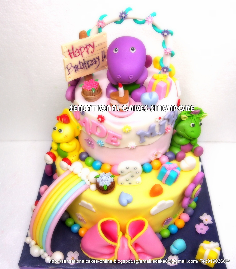 The Sensational Cakes CUTE BARNEY AND FRIENDS CAKE SINGAPORE 3D