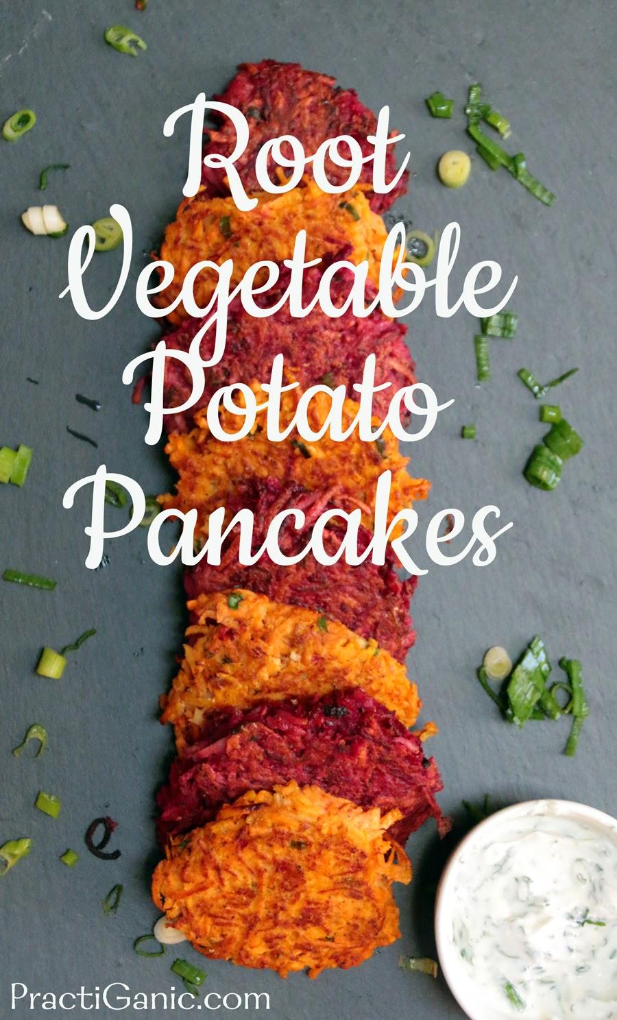 Root Vegetable Potato Pancakes with Yogurt Dip