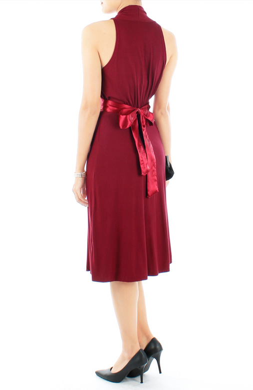 Burgundy Red Marilyn Flare Halter Neck Dress in Midi Length