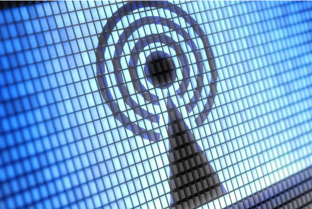 Wi-Fi signal in wall tiles Blue and Dark Blue