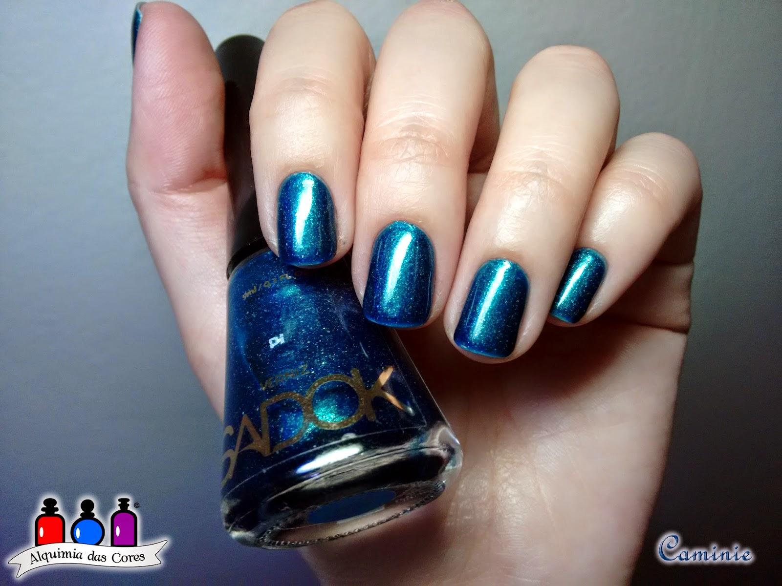 Sadok, Pi, duochrome, multichrome, verde, azul, petróleo, esmalte, nail polish, caminie