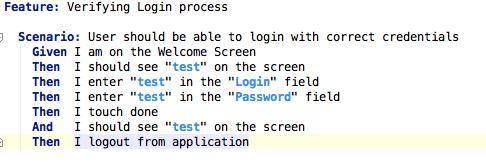 Пример описания тестового сценария