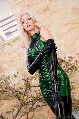 Susan Wayland Sexy Bottle Green Latex Dress