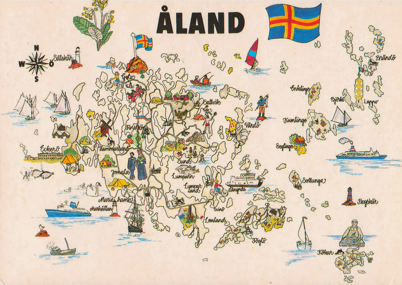 One Postcard One World Map Postcard From Åland Islands - Aland islands political map