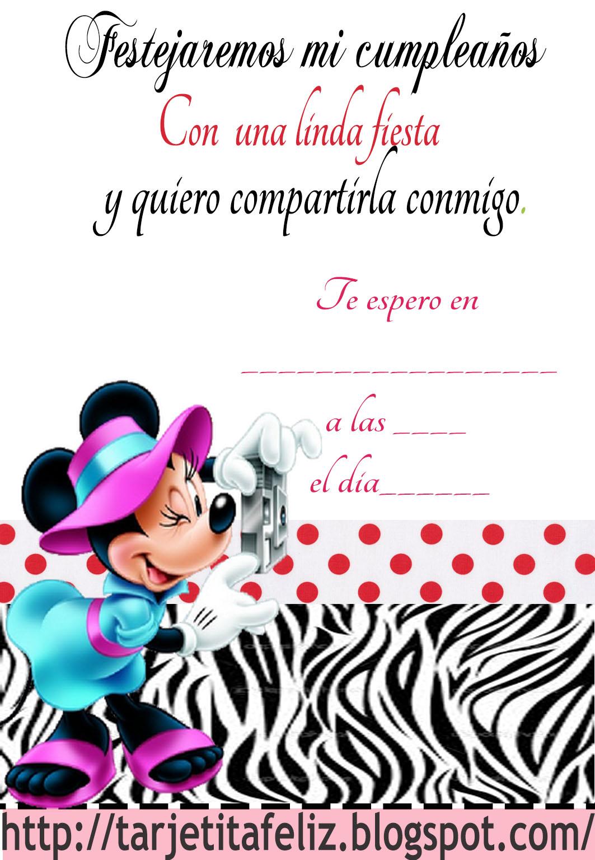 Tarjetas de cumpleaños para imprimir: Invitación de Minnie mouse