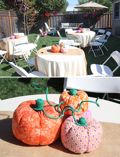Backyard Pumpkin Patch Party : little+pumpkin+party+centerpiece+cloth+pumpkinsjpg