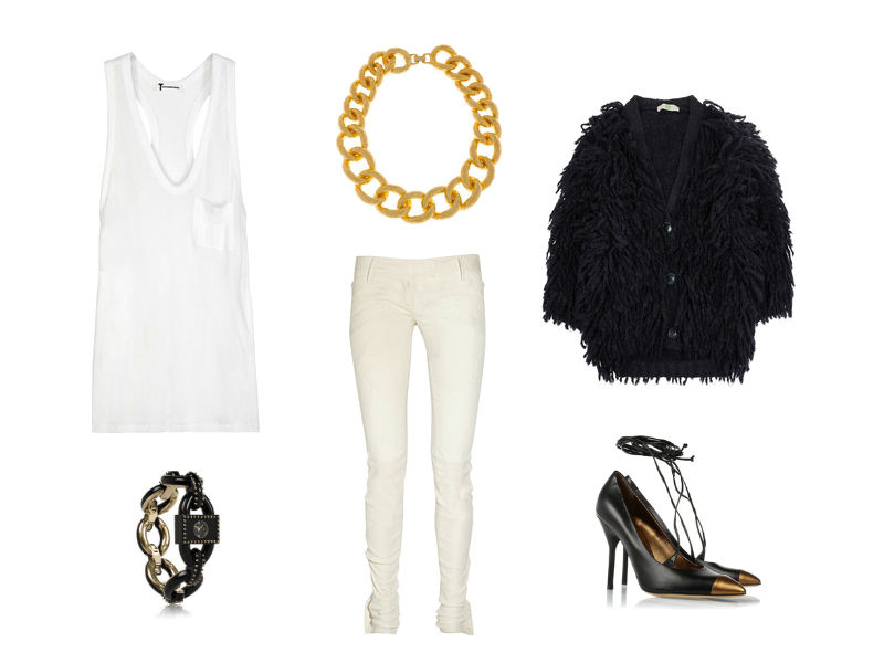 The 9 to 5 Eccentric. T By Alexander Wang Classic racer-back jersey tank, Balmain skinny leather pants, Stella McCartney fringed chunky-knit wool-blend cardigan, Marc by Marc Jacobs studded chunky chain-link watch, Yves Saint Laurent Opyum pointed leather pumps.